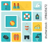 flat icons for swimming pool...
