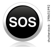sos button. round sticker.... | Shutterstock .eps vector #198651992