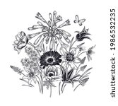 floral pattern. bouquet of... | Shutterstock .eps vector #1986532235
