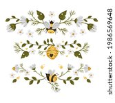honey bee cartoon frame border. ... | Shutterstock .eps vector #1986569648