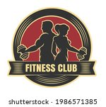 fitness club logo with... | Shutterstock .eps vector #1986571385
