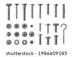 metallic technical bolt and... | Shutterstock .eps vector #1986609185