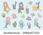 mermaid sticker  planner and... | Shutterstock .eps vector #1986647252