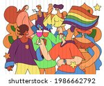 a crowd marching in a pride... | Shutterstock .eps vector #1986662792