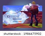 extreme hiking cartoon landing...   Shutterstock .eps vector #1986675902