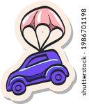 hand drawn car parachute icon...   Shutterstock .eps vector #1986701198