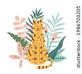 jungle jaguar. rainforest... | Shutterstock .eps vector #1986703205