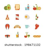 set of colorful food icons | Shutterstock .eps vector #198671132