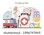 urgency rescuer help. ambulance ... | Shutterstock .eps vector #1986747845