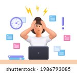 stressed young woman jane... | Shutterstock .eps vector #1986793085