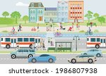 public transport with public... | Shutterstock .eps vector #1986807938