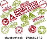 collection of 22 red grunge... | Shutterstock .eps vector #198681542