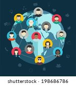 concept of social networking ... | Shutterstock .eps vector #198686786