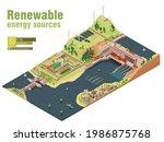 vector isometric renewable...   Shutterstock .eps vector #1986875768