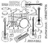 hand drawn doodle musical... | Shutterstock .eps vector #198687956