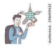vaccination passport. happy man ... | Shutterstock .eps vector #1986909632