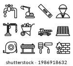 construction icon set. editable ...