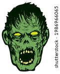 scary zombie head screams...   Shutterstock .eps vector #1986966065