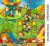 free time   children at... | Shutterstock . vector #198696668