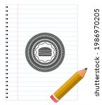 cheeseburger icon emblem with... | Shutterstock .eps vector #1986970205