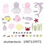 cute underwater animals  fish ... | Shutterstock .eps vector #1987119572