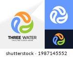 three water drop logo design ... | Shutterstock .eps vector #1987145552