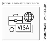 diplomatic assignment line icon.... | Shutterstock .eps vector #1987161605