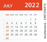 july 2022 calendar leaf  ... | Shutterstock .eps vector #1987196972