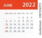 june 2022 calendar leaf  ... | Shutterstock .eps vector #1987196975