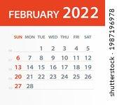 february 2022 calendar leaf  ... | Shutterstock .eps vector #1987196978