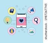 smartphone social media various ... | Shutterstock .eps vector #1987267745