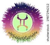 gemini moon sign. zodiac sign...   Shutterstock .eps vector #1987296212
