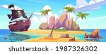 tropical island with treasure... | Shutterstock .eps vector #1987326302