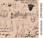 seamless pattern wine grape... | Shutterstock .eps vector #1987356482