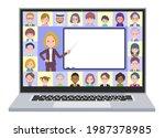 a set of blond hair business...   Shutterstock .eps vector #1987378985