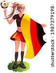 woman fan soccer player in...   Shutterstock .eps vector #1987379198