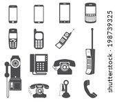 evolution of telephone icon set. | Shutterstock .eps vector #198739325