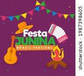 festa junina brazil festival...   Shutterstock .eps vector #1987398605