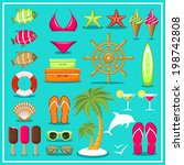 summer beach set. vector  | Shutterstock .eps vector #198742808