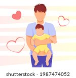 father is holding baby. dad and ... | Shutterstock .eps vector #1987474052