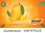 fresh ripe mango fruit with... | Shutterstock .eps vector #1987479125