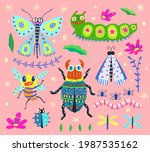 bugs butterfly moth and... | Shutterstock .eps vector #1987535162