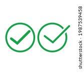 check mark green line icons....   Shutterstock .eps vector #1987539458