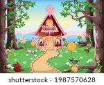 sweet little house with... | Shutterstock .eps vector #1987570628