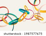 colorful 3d rings on white... | Shutterstock .eps vector #1987577675