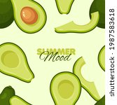 avocado seamless pattern....   Shutterstock .eps vector #1987583618