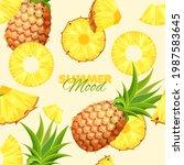 pineapple seamless pattern....   Shutterstock .eps vector #1987583645
