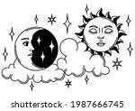magic illustration with sun and ... | Shutterstock .eps vector #1987666745