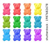 colorful sweet jelly bears set | Shutterstock .eps vector #1987682678