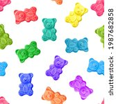 colorful sweet jelly bears ... | Shutterstock .eps vector #1987682858